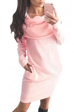 Womens Cowl Neck Long Sleeve Plain Dress Pink