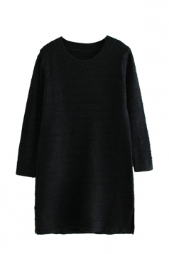 Womens Loose Crewneck Long Sleeve Plain Sweater Dress Black