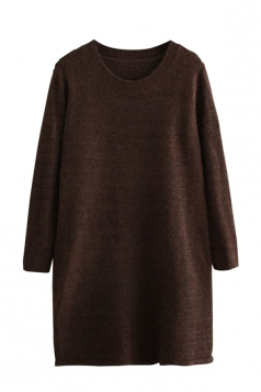 Womens Loose Crewneck Long Sleeve Plain Sweater Dress Brown