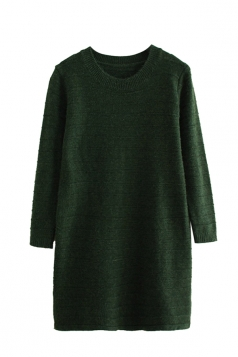 Womens Loose Crewneck Long Sleeve Plain Sweater Dress Green