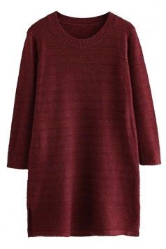 Womens Loose Crewneck Long Sleeve Plain Sweater Dress Ruby