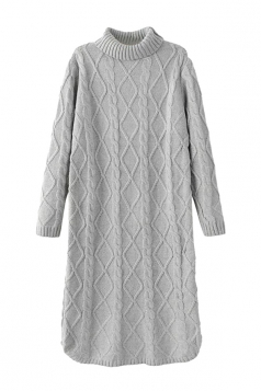 Womens Turtleneck Cable Knitted Long Sleeve Sweater Dress Gray