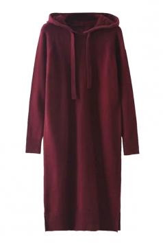 Womens Drawstring Hooded Long Sleeve Side Slit Sweater Dress Coffee