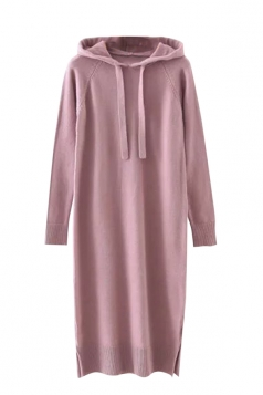 Womens Drawstring Hooded Long Sleeve Side Slit Sweater Dress Pink