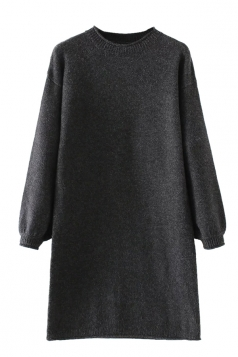 Womens Crewneck Puff Long Sleeve Plain Sweater Dress Black