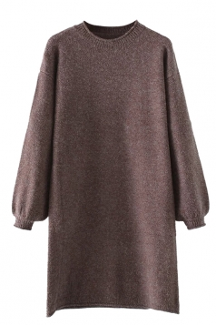 Womens Crewneck Puff Long Sleeve Plain Sweater Dress Coffee