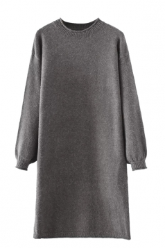 Womens Crewneck Puff Long Sleeve Plain Sweater Dress Gray