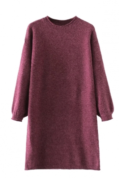 Womens Crewneck Puff Long Sleeve Plain Sweater Dress Ruby