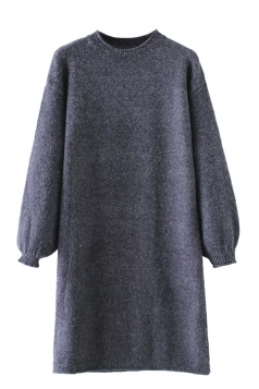 Womens Crewneck Puff Long Sleeve Plain Sweater Dress Navy Blue
