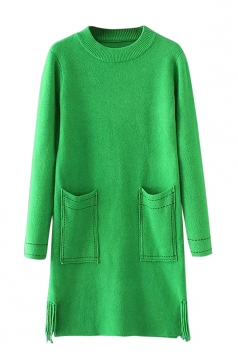 Womens Crewneck Pockets Sides Fringed Long Sleeve Sweater Dress Green