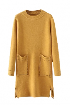 Womens Crewneck Pockets Sides Fringed Long Sleeve Sweater Dress Yellow