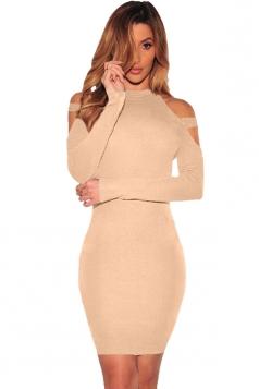 Womens Cold Shoulder Long Sleeve Plain Bodycon Dress Khaki
