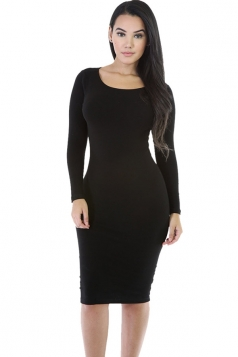 Womens Plain Long Sleeve Midi Bodycon Dress Black