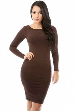 Womens Plain Long Sleeve Midi Bodycon Dress Coffee