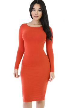 Womens Plain Long Sleeve Midi Bodycon Dress Orange