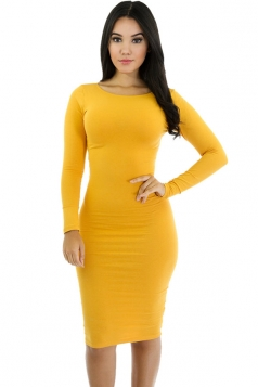 Womens Plain Long Sleeve Midi Bodycon Dress Ginger