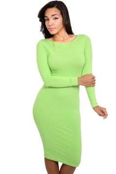 Womens Plain Long Sleeve Midi Bodycon Dress Light Green