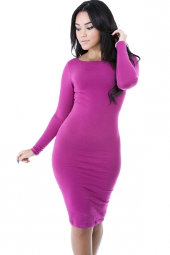 Womens Plain Long Sleeve Midi Bodycon Dress Purple