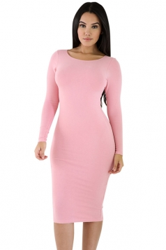 Womens Plain Long Sleeve Midi Bodycon Dress Pink