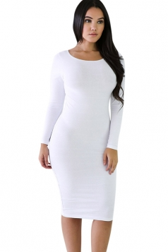 Womens Plain Long Sleeve Midi Bodycon Dress White