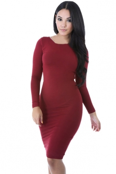 Womens Plain Long Sleeve Midi Bodycon Dress Ruby