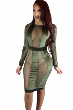 Womens Sheer Mesh Patchwork Long Sleeve Clubwear Dress Army Green