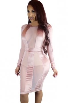 Womens Sheer Mesh Patchwork Long Sleeve Clubwear Dress Pink