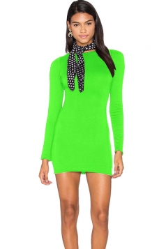 Womens Sexy Lace-up Backless Long Sleeve Clubwear Dress Light Green