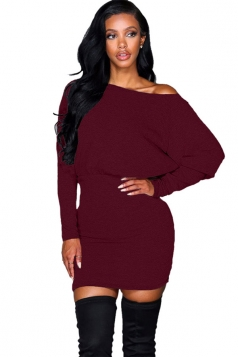 Womens Off Shoulder Long Sleeve Plain Clubwear Dress Ruby
