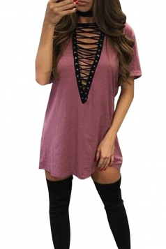 Womens Lace-up V Neck Short Sleeve T Shirt Clubwear Dress Pink