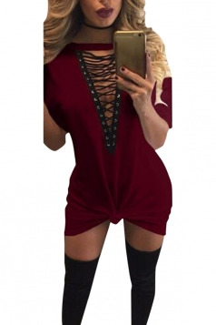 Womens Lace-up V Neck Short Sleeve T Shirt Clubwear Dress Ruby
