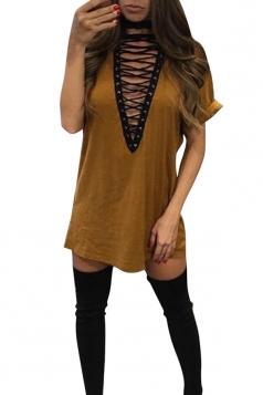 Womens Lace-up V Neck Short Sleeve T Shirt Clubwear Dress Yellow