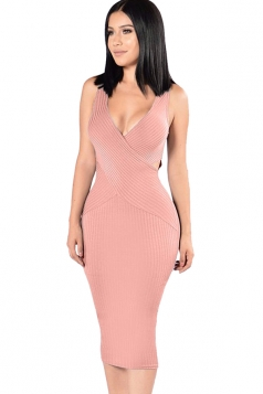Womens Cross V Neck Cut-out Sleeveless Midi Clubwear Dress Pink