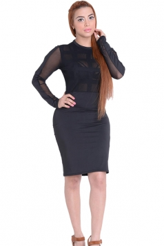 Womens Sheer Long Sleeve Plain Midi Bandage Dress Black
