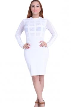Womens Sheer Long Sleeve Plain Midi Bandage Dress White