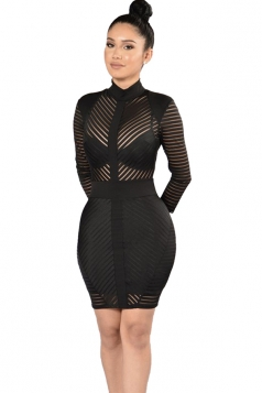 Womens Sheer Mock Neck Long Sleeve Zip-up Striped Clubwear Dress Black