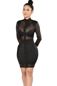 Womens Sheer Mock Neck Long Sleeve Zip-up Striped Clubwear Dress Black
