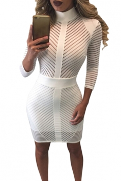 Womens Sheer Mock Neck Long Sleeve Zip-up Striped Clubwear Dress White