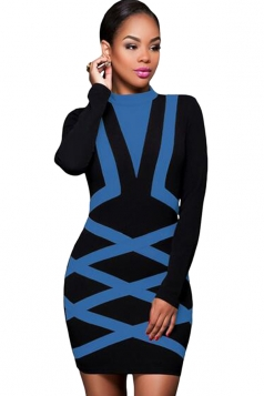 Womens Color Block Striped Long Sleeve Bodycon Dress Blue
