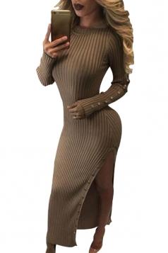 Womens Crochet Long Sleeve Side Slit Maxi Dress Khaki