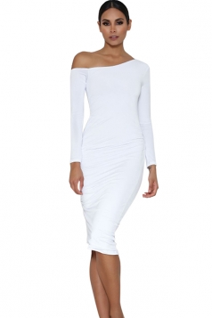 Womens One Shoulder Long Sleeve Plain Midi Dress White