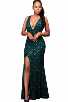 Womens Sequined Deep V Neck Backless Side Slit Mex Dress Green