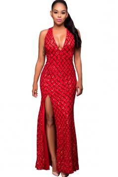 Womens Sequined Deep V Neck Backless Side Slit Mex Dress Red