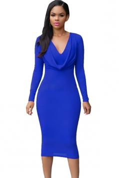 Womens V Neck Plain Draped Long Sleeve Midi Dress Sapphire Blue