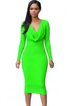 Womens V Neck Plain Draped Long Sleeve Midi Dress Green