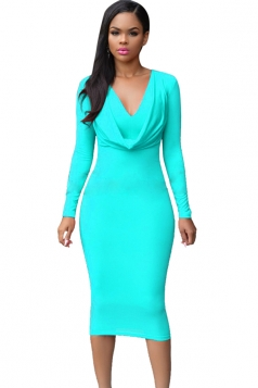 Womens V Neck Plain Draped Long Sleeve Midi Dress Light Blue