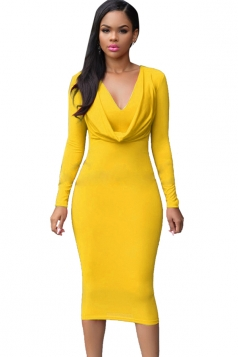 Womens V Neck Plain Draped Long Sleeve Midi Dress Yellow