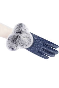 Womens Lined Quilted Leather Winter Gloves Blue