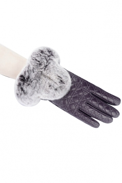 Womens Lined Quilted Leather Winter Gloves Purple