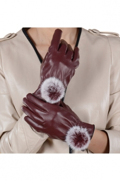Womens Woolen Warm Leather Winter Gloves Khaki